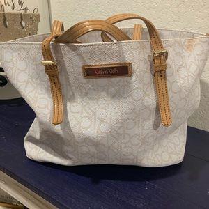 White and Gold Calvin Klein purse